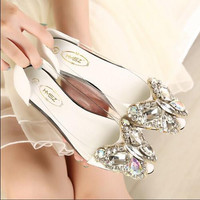 Koovan Women Flats 2017 New Fashion Rhinestone Bow Pointed Flat Shoes Women Shoes Transparent Diamond Women Flats 1098