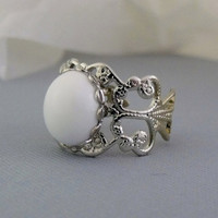 White Stone Ring, Silver and White Rings, Adjustable Rings, White Glass Cabochon Ring