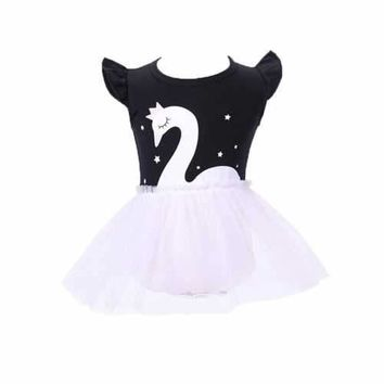 Swan Pattern Baby Party Pageant Dress