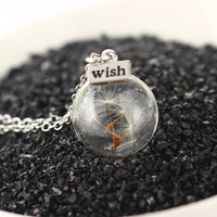 Fashion Women Real Dandelion Seeds Lucky Light Bulb Glass Wishing Bottle Pendant Necklace Collier Femme