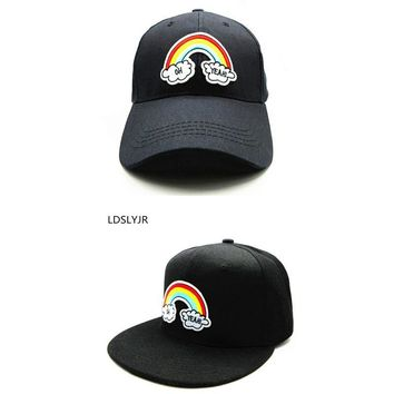 Trendy Winter Jacket LDSLYJR 2018 Cartoon rainbow embroidery cotton Baseball Cap hip-hop cap Adjustable Snapback Hats for kids and adult size 16 AT_92_12