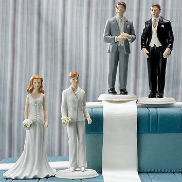 Fashionable Bride In Elegant Pants Suit Cake Topper (Pack of 1)