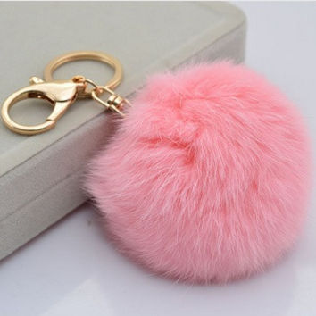 Cute Genuine Leather Rabbit fur ball plush key chain for car key ring Bag Pendant car keychain = 5987581697
