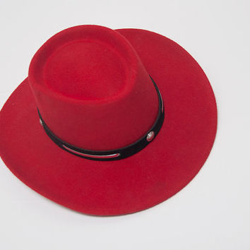 "Bright Red Cowboy Concho Hat 20.5"" Size 6 7/8 