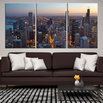 30934 - Chicago Wall Art Canvas Print - Extra Large Chicago City Night Canvas Print