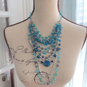 Multi Strand Crystal Bib Necklace - NOEL - Ooak Statement Necklace