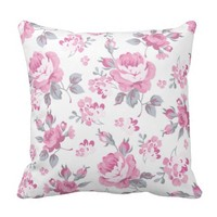 shabby chic floral, pink pattern,pale roses,white, throw pillows