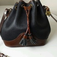 Authentic Vintage Dooney Bourke Navy Blue and Brown Trim Drawstring Hobo Bucket Handbag Purse