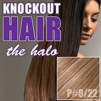 "Halo Hair Extensions 20"" Dark Warm Blonde/Honey Blonde (P#8/#22) - Human No Clip In Flip In Couture by Knockout Hair"