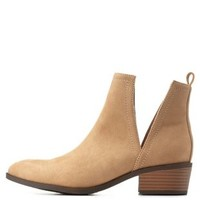Sand Side Cut-Out Ankle Booties by Charlotte Russe
