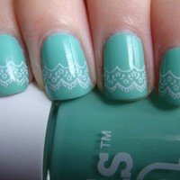 Nails / Turquoise lace nails.