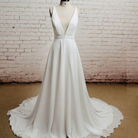 Open back, Sexy, Chiffon bridal gown, V-neck wedding dress