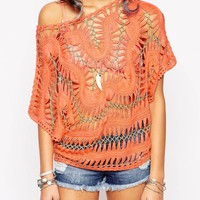 Sunshine Soul Festival Crochet Top With Metallic Thread