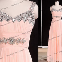 Luxury Baby Pink Beading Straps Empire Line Waist Floor Length Long Evening Dress with Diamonds Embellishment ,long evening gown,senior prom