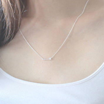 Arrow Necklace, Silver Arrow Necklace, Small Arrow Necklace, Minimalist Necklace, Sideway Arrow, Charm Necklace, Dainty Necklace