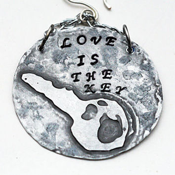 LOVE Is The Key-- Silver Chain Earrings,  Etched Metal Earrings, Dangling Circle Disc Earrings, Inspirational Quote Jewelry
