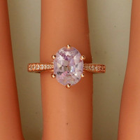Lavender Sapphire Over 2ct 14k Rose Gold Diamond Accented Engagement Ring Weddings Anniversary Blake Lively Engagement Ring With a Twist