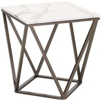 ZUO Modern Tintern End Table Stone & A. Brass 100658 Living Coffee/Side/Consoles