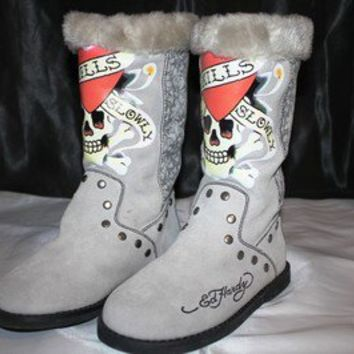 ED HARDY CHRISTIAN AUDIGIER WOMEN DRESY SKULL WINTER BOOTS SHOES SIZE 5 6 7 8 10