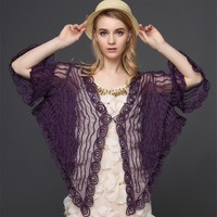 Vintage Gatsby Women Lace Cardigan Flare Sleeve V Neck Thin Sheer Embroidery Mesh Striped Poncho Coat