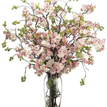 Lifelike Pink Cherry Blossom Arrangement in Faux Water Filled Glass Vase