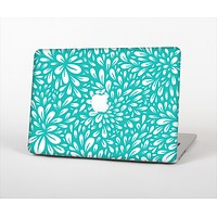 The Teal and White Floral Sprout Skin Set for the Apple MacBook Pro 13""