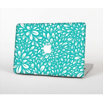 The Teal and White Floral Sprout Skin Set for the Apple MacBook Pro 15""