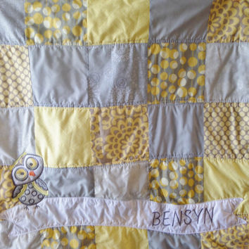 Custom made homemade Gray and yellow baby blanket - Owl quilt