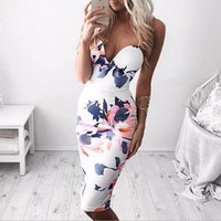 V-Neck Print Bodycon Dress