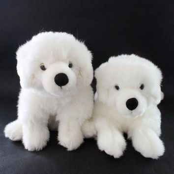 White Samoyed Puppy Stuffed Animal Plush Toy 10""