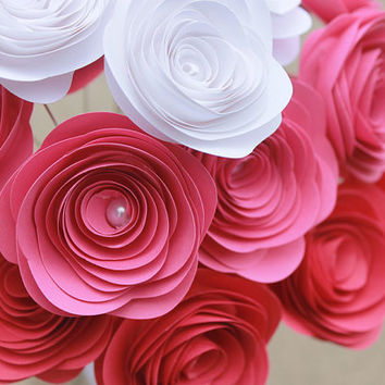 Pink Ombre Paper Flower Bouquet - Valentine's Day - Baby Girl Shower - Wedding - Bridal Shower - Nursery Decor - Gift - Party
