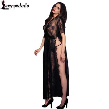 2016 New Sexy Sleepwear Lingerie Gown Long Dress Black Sheer Lace Kaftan Robe with Thong Hollow Out Night Clubwear Midi Dress