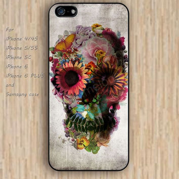 iPhone 6 case flowers skull iphone case,ipod case,samsung galaxy case available plastic rubber case waterproof B091