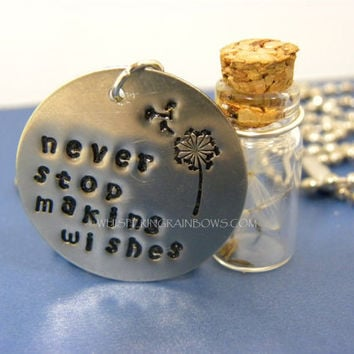 Dream Dandelion Glass Jar Necklace Hand Stamped Metal
