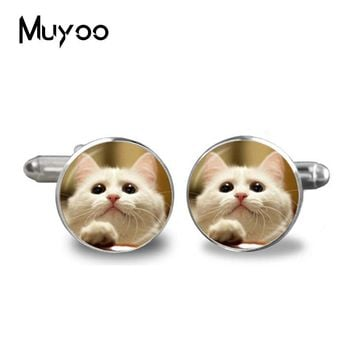 2017 Fashion Handmade Cufflink Cute white Glass Cabochon Animal Art Picture Charms Occult High Quality Cufflinks Jewelry