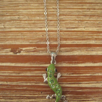 Green Lizard Necklace - Green Gem Lizard Necklace
