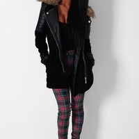 High Society Black Leather Sleeved Faux Fur Trim Coat | Pink Boutique