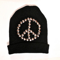 Black peace sign studded beanie