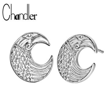 Chandler Eagle Viking Lunula Amulet Earring For Male Mens Crescent Moon Norse Slavic Pagan Bronics Personality Feather His Gift