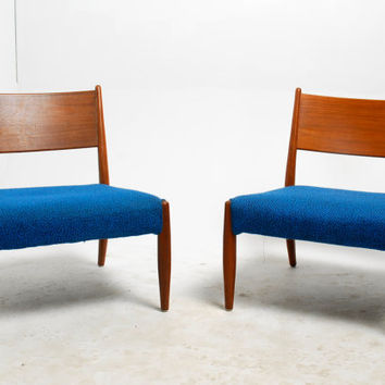 Pair of Low Slung Danish Modern Teak Slipper Chairs, 4 Avail.