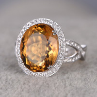 8.88ctw Oval Citrine Engagement Ring Diamond Wedding Ring 14K White Gold Curved Loop 8-Ball-Prong Set