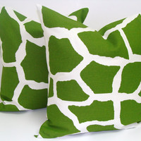 Green Giraffe Pillows.SET OF TWO 18x18 inch.Decorator Pillow Covers.Printed Fabric Front and Back.Animal Print Fabric.Bright Green
