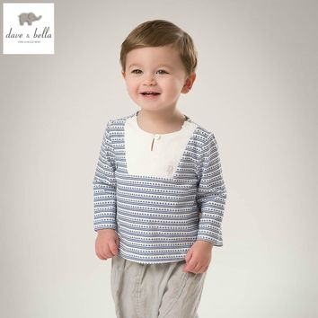 DB5105 dave bella spring baby boy cotton sailing striped t-shirt infant clothes toddle t shirt boys top boys  t shirt baby tee
