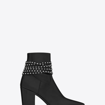 Saint Laurent FRENCH 85 Studded Strap ANKLE BOOT IN BLACK LEATHER And Silver Toned Metal | ysl.com