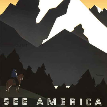 Welcome to Montana Historic Travel WPA Poster Reprint on 9x12 PopMount Ready to Hang FREE SHIPPING