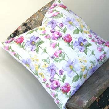 Watercolor flower print pillow cover, spring decor cushion, throw pillow cover, pink, yellow, green, purple, lilic, lemon, Lumber pillow1