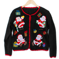 Four Santas Tacky Ugly Christmas Sweater