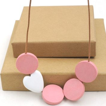 LADY wood disk geometric necklace minimalist statement LOVE PINK statement abstract light weight NW1637