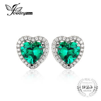 JewelryPalace Heart Created Emerald Stud Earrings Women Romantic Wedding Gift Real Pure 925 Solid Sterling Silver 2016