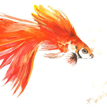 Flame Colored Guppy Fish, Original watercolor painting, 12 X 9 in, orange red bright wall art, children, nursery